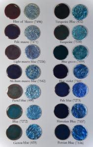 Fig 13: Smalti blu trasparenti applicati direttamente su rame e direttamente su foglia d'argento puro.