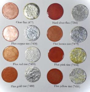 Fig 8: Fondenti applicati direttamente su rame e direttamente su foglia d'argento puro.
