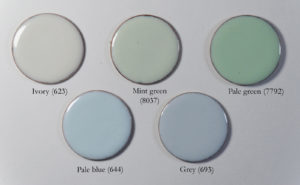 Figure 6: Opaque enamels that have a slight opalescent tone on copper.