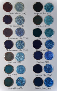 Figure 13: Blue Transparent enamels applied directly on copper base and directly on pure silver foil.