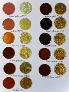 Fig 10: Smalti gialli e marroni trasparenti applicati direttamente su rame e direttamente su foglia d'argento puro.